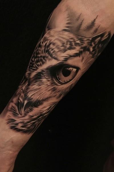 татуировка совы на руке, тату салон/студия в Новосибирске