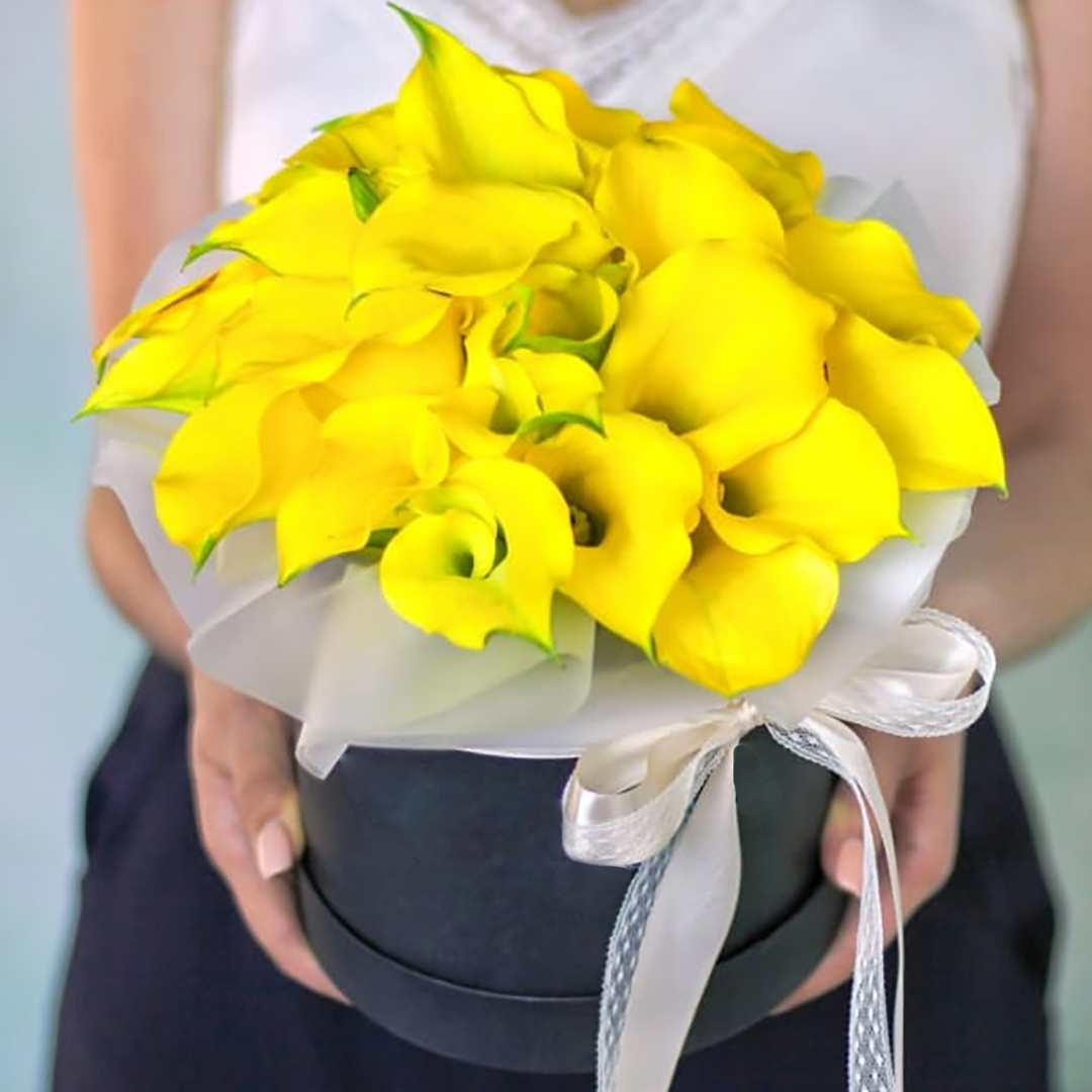 Желтые каллы в коробке в руках