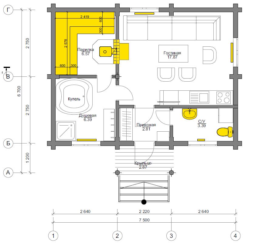 План первого этажа Fortshof BAN (Баня Фортсхоф)