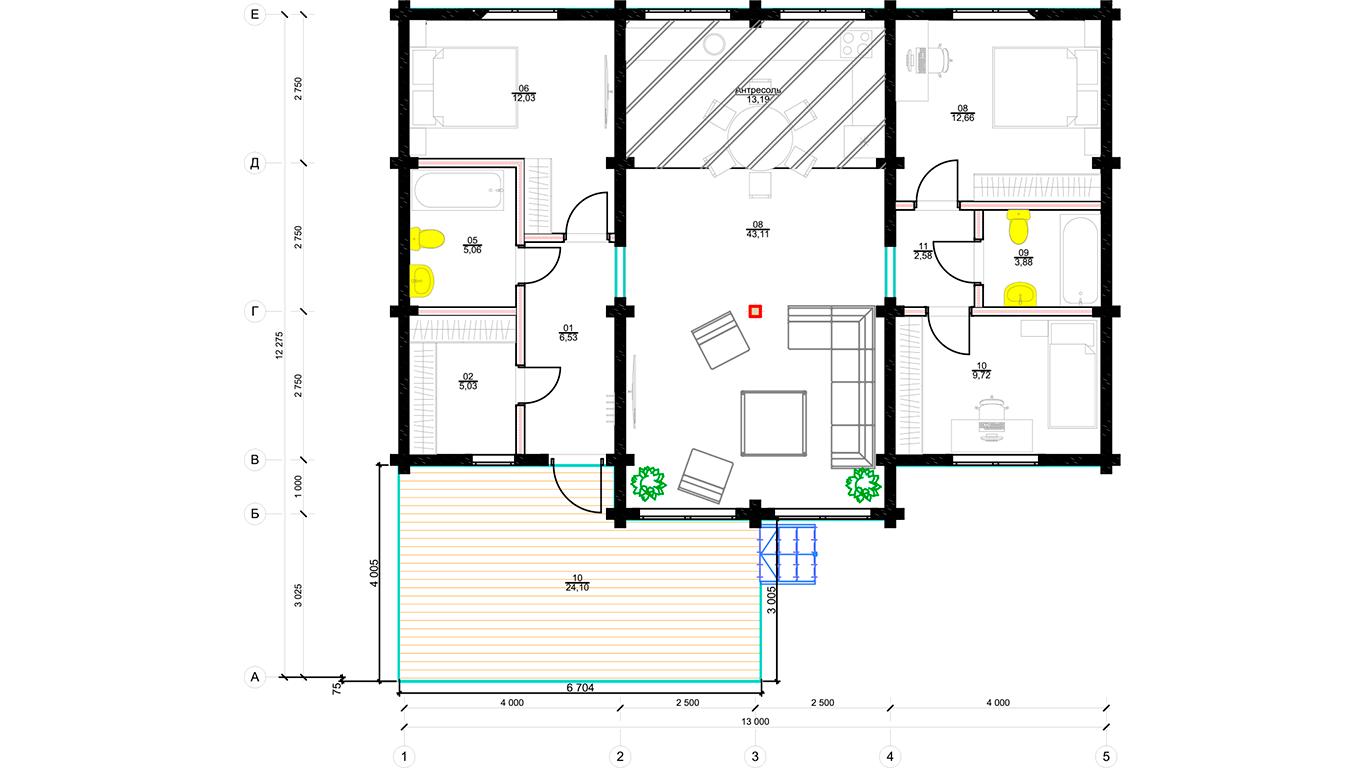 План первого этажа Bonn Bill 1.1 (Бонн Биль)