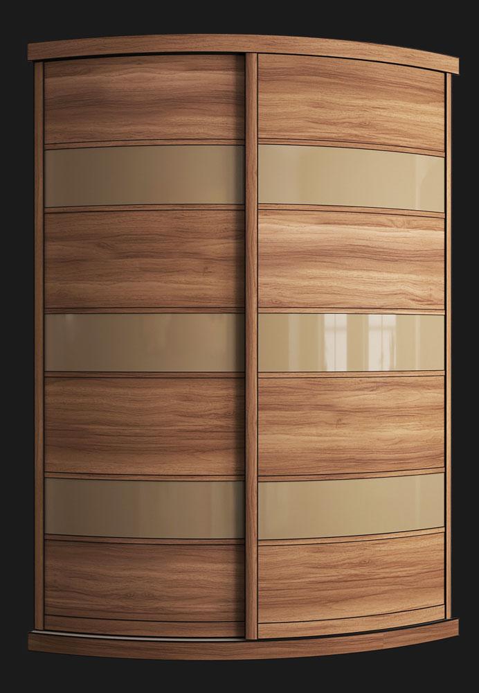 Выгнутый радиусный шкаф M-4 орех и латте