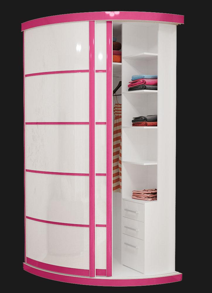 Выгнутый радиусный шкаф M-1 Маджента