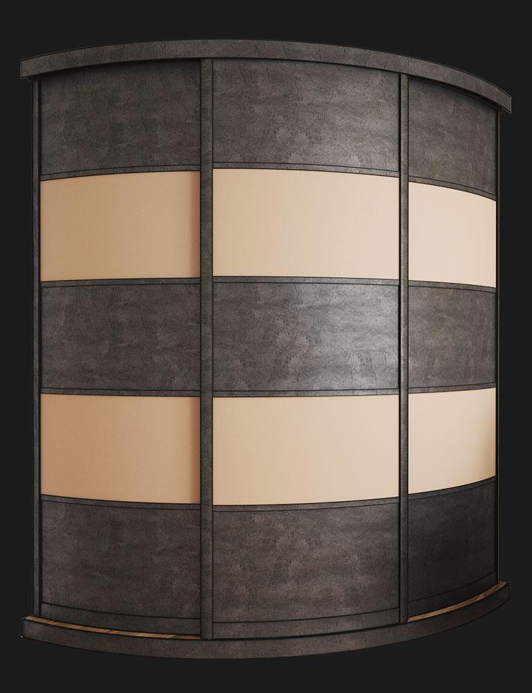 Выгнутый радиусный шкаф M-2 Бетон и Крем софт