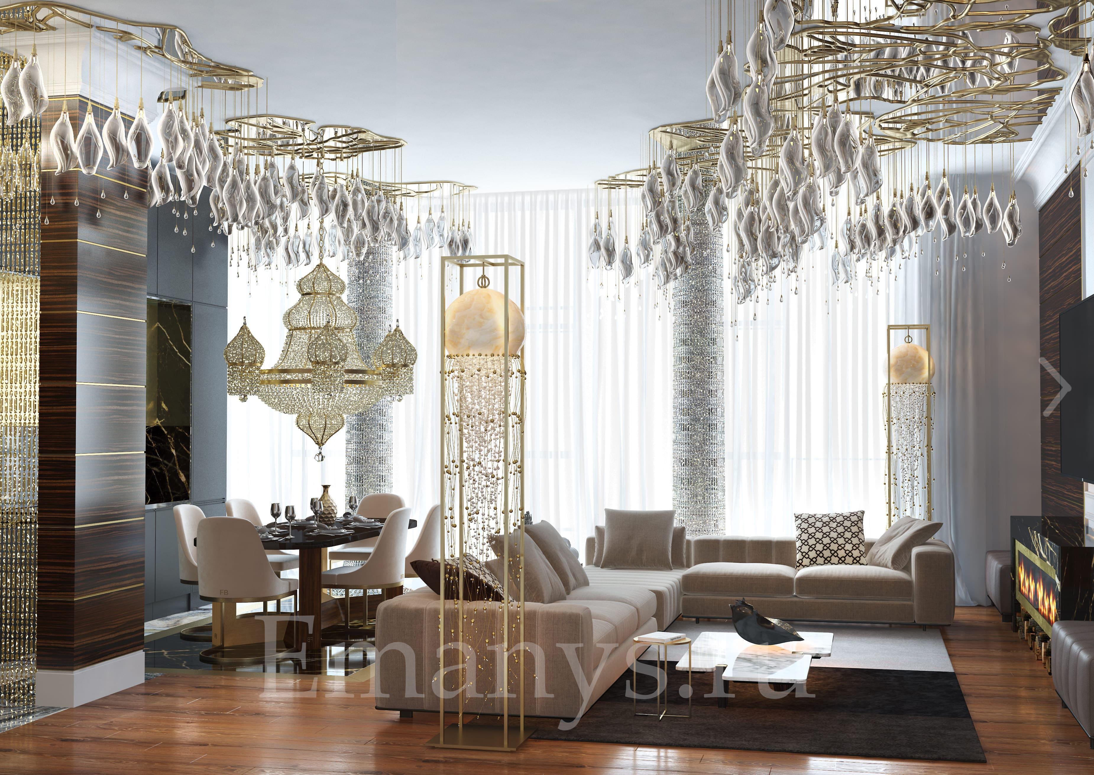 Светлая гостиная в стиле Emanys