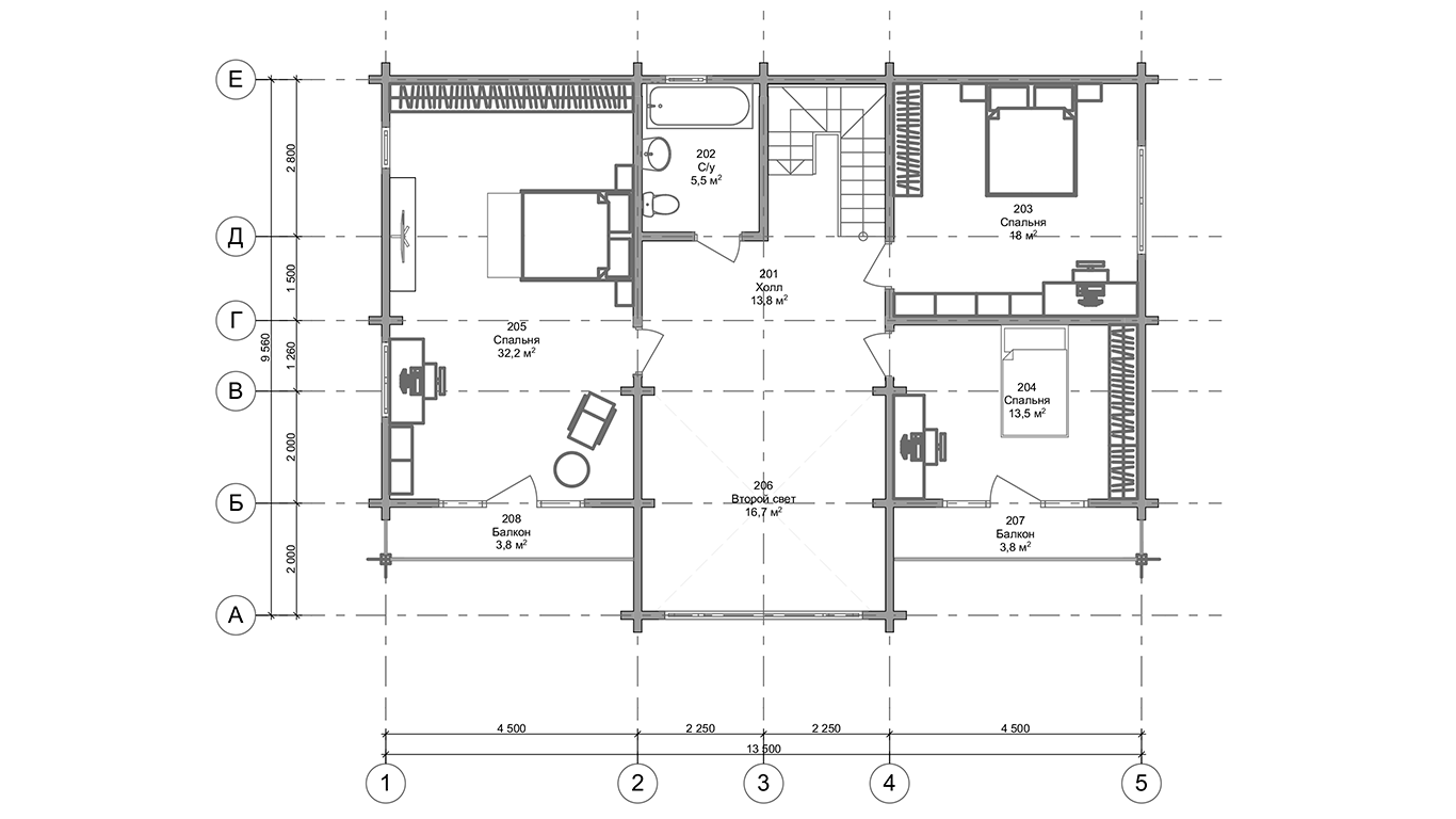План второго этажа Hannover Plus  (Дом Ганновер +)